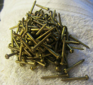 Vintage Lot Of 133 Brass Wood Screws 1 Long 1 16 round Head Slotted