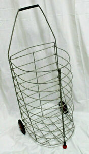 Vintage Metal Rolling Market Grocery Shopping Basket Cart Collapsible 1950 s