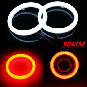 Pair 90mm Red Cob Led Car Auto Angel Eyes Halo Ring Light Fog Lamp Headlight