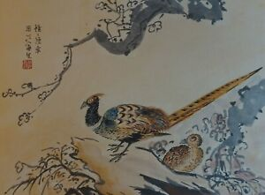 Fine Korean Minhwa Folk Hand Painting 2 Pheasants Signed