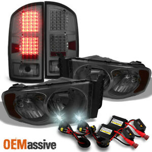 Fit 2002 2005 Dodge Ram 1500 2500 3500 Smoke Headlights led Taillights 6000k Hid