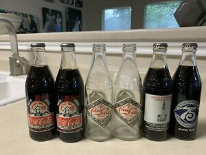 (6) - COCA COLA 75TH ANNIVERSARY COMMEMORATIVE BOTTLES 10 oz