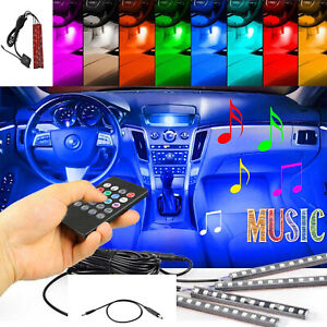 rgb Led Glow Car Lamp Under Dash Footwell Seats Inside Lighting Usb Music 4x