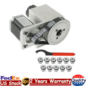 Cnc Engrave Router Hollow Shaft Stepper Motor Rotational Axis Er32 Collet 3 20mm