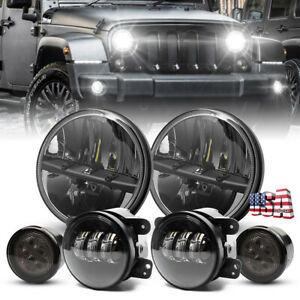 For Jeep Wrangler Jk 07 18 Set 7 Led Headlight Hi lo Fog Light Turn Signal Lamp