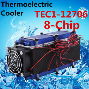 576w 8 chip Tec1 12706 Diy Thermoelectric Peltier Cooler Air Cooling Device