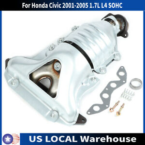 Exhaust Manifold W Catalytic Converter For Honda Civic 01 05 1 7l L4 Sohc Us