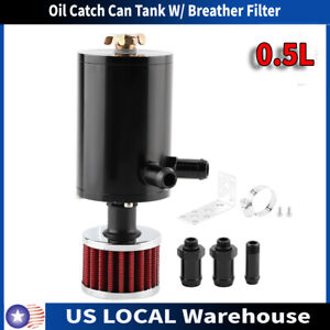 0 5l Universal Aluminum Oil Catch Tank Can Reservoir W Breather Air Filter Us