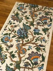 Vintage French Printed Indienne Sample Midcentury Large Scale L 70 X W 32