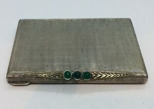Antique Art Deco Sterling Silver 18k Gold Chrysoprase Compact Case Box