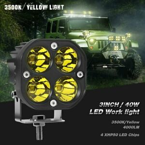 2x 3inch 40w Yellow Led Work Light Bar Pods Spot Driving Fog Offroad Atv Lamps