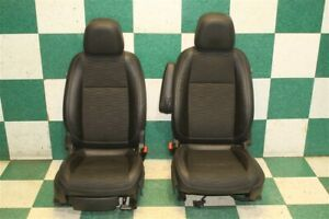 15 19 Encore Black Cloth Leather Front Manual Bucket Seats Pair Hot Rod Tracks