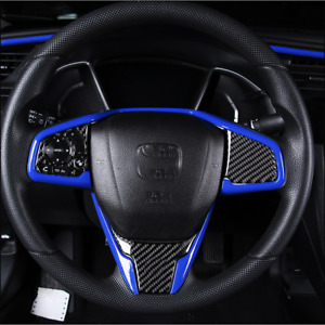 For Honda Civic 2016 2020 Abs Car Blue Interior Steering Wheel Decorative Trim