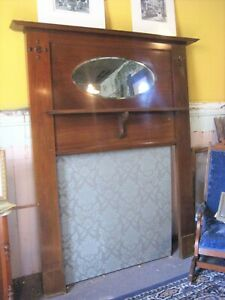 Late Victorian Early Arts Crafts Fireplace Mantle W Mirror