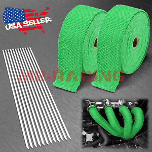 2 Rollx2 50ft Green Exhaust Thermal Wrap Manifold Header Isolation Heat Tape