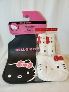 4pcs Sanrio Hello Kitty Car Mat Seat Belt Cover Tissue Box Cover