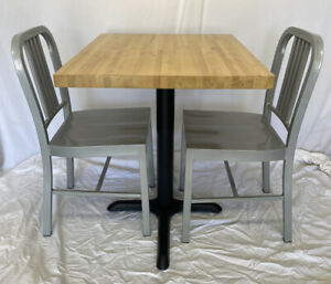 Restaurant Butcher Block Table W base 30x25x30h Two 33 h Silver Metal Chairs
