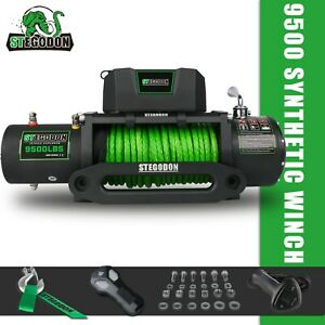Stegodon 9500lbs Electric Winch 12v Synthetic Rope Towing Truck Off Road Jeep