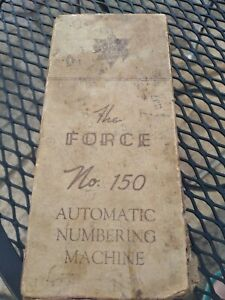 Vintage The Force No 150 Automatic Numbering Machine In Box Grocery Store