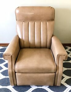 Barcalounger Recliner Chair Tan Leather Vtg Easy Chair R1 Lazy Boy Style Mcm