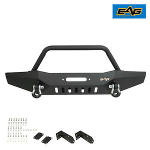 Eag Fit For 84 01 Jeep Cherokee Xj Front Bumper W Winch Plate D ring Shackle