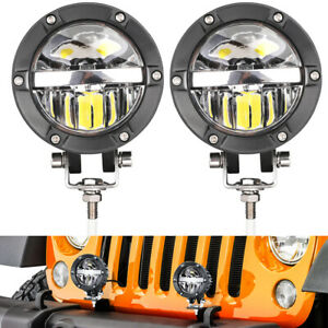 2x 4 Cree Round Led Driving Light Hi low Beam Truck Pickup Fog Lamp Offroad 4wd