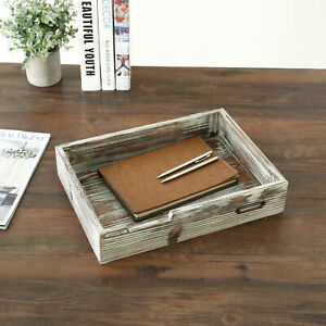 Torched Wood Drawer style Office Supplies Paper File Document Storage Tray
