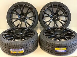 22 Inch Dodge Chrysl Srt Hellcat Style Wheels Tires Satin Black Rims 5x115