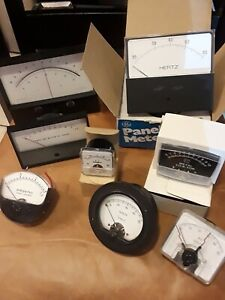 Lot Of 8 Vintage Panel Meters Art Deco Steampunk Laboratory Devices