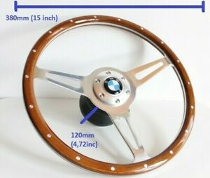 Steering Wheel Bmw Wood Black E32 E34 E36 Z3 Vintage Wooden 380mm 1993 1998