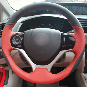 Black Red Leather Car Steering Wheel Cover For Honda Civic 9 2012 2015
