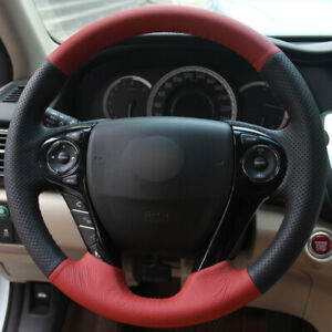 Black Red Leather Car Steering Wheel Cover For Honda Accord 9 Odyssey Crosstour