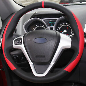 Black Red Leather Car Steering Wheel Cover For Ford Fiesta 08 13 Ecosport 13 16