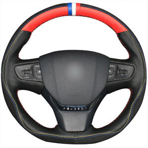 Black Red Leather Black Suede Car Steering Wheel Cover For Peugeot 408 2014 2015