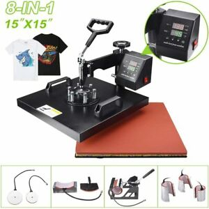 8 In 1 Heat Press Machine 15 x15 Digital Transfer Sublimation T shirt Mug Hat