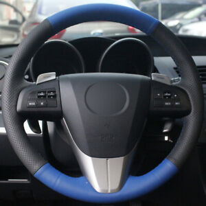 For Mazda 3 Cx 7 Car Diy Hand Sewing Steering Wheel Cover Blue Black Leather