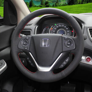 For Honda Crv 2012 2016 Crider Hand Sewing Steering Wheel Cover Balck Leather