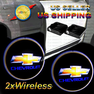 2x Wireless Ghost Shadow Laser Projector Led Light Courtesy Door Step Chevrolet
