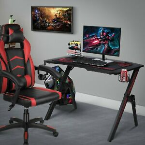 Gaming Desk Home Computer Table leather Gaming Racing Chair Adjustable