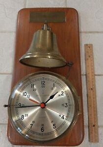 Vintage 6 Quartz Bell Clock Co Ship Clock Solid Brass Wall Mount Stellar
