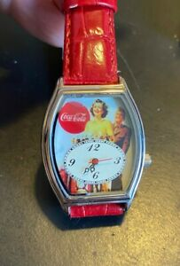 Silver Tone Coca Cola Watch  Red Band  Vintage Scene