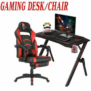 Computer Gaming Desk With Cup Holder gaming Racing Chair Ergonomic Adjustable
