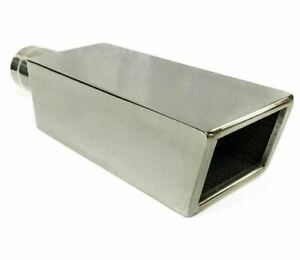 Exhaust Tip 4 00 X 3 25 Od X 14 00 Long 2 25 Inlet Square Resonated Wsqr40325