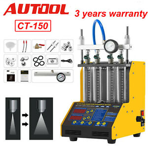Autool Ct150 Fuel Injector Tester Cleaner Ultrasonic For 4 Cylinder Car Motor