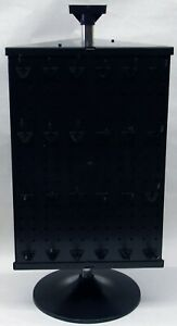 3 Sided Plastic Black Counter Top Peg Board Spinner Rack Display For Face Masks
