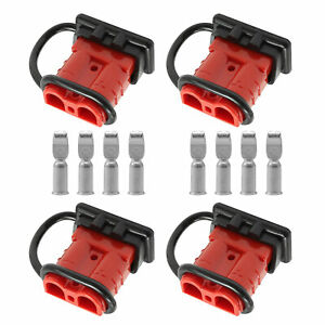 4pcs 50a 6 10 Gauge Battery Connect Disconnect Wire Harness Plug Kit For Winch