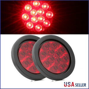2x 4 Round Stop Turn Tail Brake Sealed Truck Trailer Led Lights W Rubber Mount