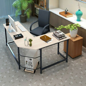 L shaped Computer Desk Corner Pc Laptop Table Wood Workstation Home Office Table