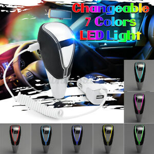 Car Auto Gear Shift Knob Rgb Led Light 7 Color Touch Activated Usb Charge