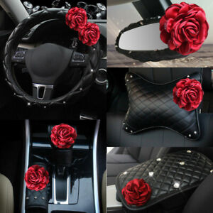 Rose Flower Design Universal Car Steering Wheel Cover Seat Belt Shoulder Pillow